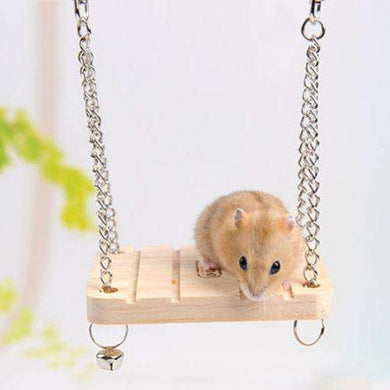 Pet Wooden Hamster Bell Swing with Chain Small Bell Suspension Poppled Hanging Ladder Pet Toys - fommystore