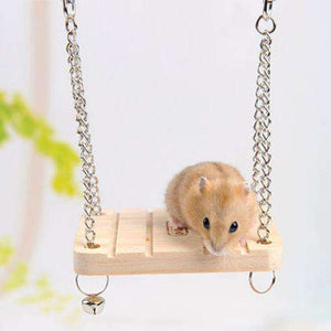 Pet Wooden Hamster Bell Swing with Chain Small Bell Suspension Poppled Hanging Ladder Pet Toys