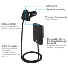 Load image into Gallery viewer, Universal 9.6A 4 Port USB Car Charger With Extension Charging - Black - fommystore