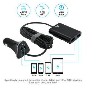 Universal 9.6A 4 Port USB Car Charger With Extension Charging - Black - fommystore