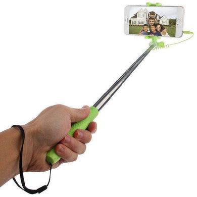 Mini Multifunction Wire Controlled Extendable Selfie Stick Monopod, For iPhone, Galaxy, Huawei, Xiaomi, HTC, Sony, Google and other Smartphones of Android or iOS(Green) - fommystore