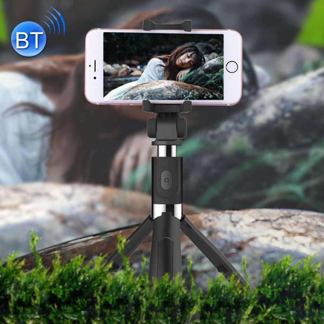 2 in 1 Foldable Bluetooth Shutter Remote Selfie Stick Tripod for iPhone and Android Phones(Black) - fommystore