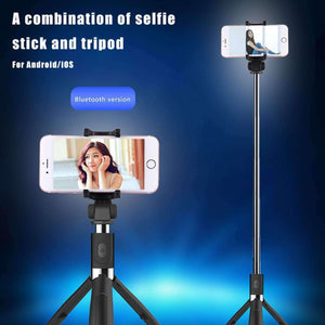 2 in 1 Foldable Bluetooth Shutter Remote Selfie Stick Tripod for iPhone and Android Phones(Blue) - fommystore
