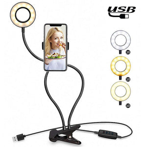 USB Selfie Ring Light with Clip Lazy Bracket Cell Phone Holder Stand, With 3-Light Mode, 10-Level Brightness LED Desk Lamp, Compatible with iPhone / Android,  for Live Stream, KTV, Live Broadcast, Live Show, etc