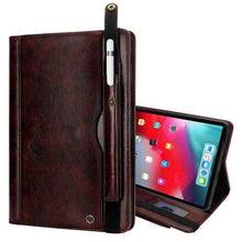 Load image into Gallery viewer, Flip Leather Smart Case With Card/Pen Slot & Strap for iPad Pro 12.9 inch 2018 - fommystore