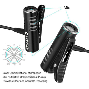 Professional Clip-On 3.5mm Plug Lavalier Omni-directional Broadcast Condenser Microphone, For Live Broadcast, Show, KTV, etc - fommystore