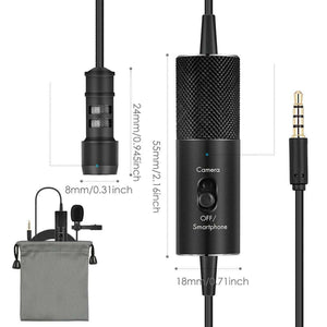 Professional Clip-on Lapel Mic Lavalier Omni-directional Condenser Microphone, For Live Broadcast, Show, KTV, etc - fommystore