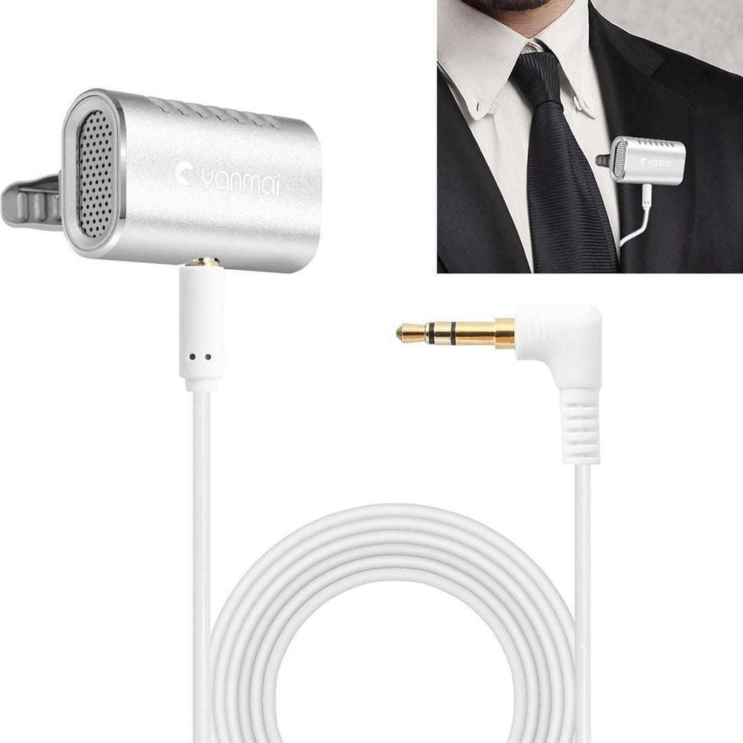 Recording Clip-on Lapel Mic Lavalier Omni-directional Double Condenser Microphone, Compatible with PC/iPad/Android and others, for Live Broadcast, Show, KTV, etc (Silver) - fommystore