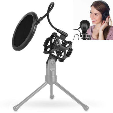 Recording Microphone Studio Wind Screen Pop Filter Mic Mask Shield, For Studio Recording, Live Broadcast, Live Show, KTV, Online Chat, etc(Black) - fommystore