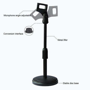 Desktop Extendable Round Base Microphone Stand Holder Mic Boom Clip, For Studio Recording, Live Broadcast, Live Show, KTV, etc. - fommystore