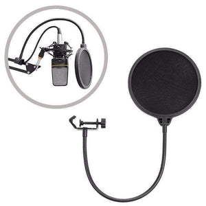 Double-layer Recording Microphone Studio Wind Screen Pop Filter Mask Shield with Clip Stabilizing Arm, For Studio Recording, Live Broadcast, Live Show, KTV, etc(Black) - fommystore