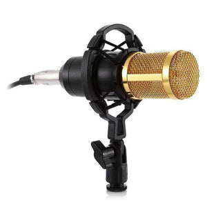 3.5mm Studio Recording Wired Condenser Sound Microphone with Shock Mount, Compatible with PC / Mac for Live Broadcast Show, KTV, etc.