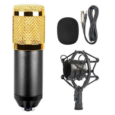 3.5mm Studio Recording Wired Condenser Sound Microphone with Shock Mount, Compatible with PC / Mac for Live Broadcast Show, KTV, etc.(Black) - fommystore