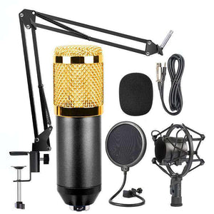 Mic Kit Condenser Microphone with Adjustable Mic Suspension Scissor Arm, Shock Mount and Double-layer Pop Filter, For Studio Recording, Live Broadcast, Live Show, KTV, etc.