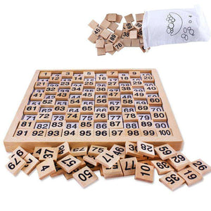 Wooden Montessori Teaching Aids Math 1 - 100 Consecutive Numbers Counting Board Plate Toy - fommystore