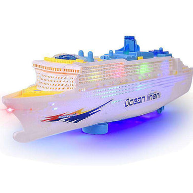 Children Toy Simulation Electric Boat Model Music Light Cruise Wheel with Colorful Lights and Siren - fommystore