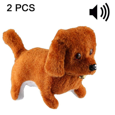 2 PCS Plush Puppy Electric Toys Can Will Move Forward / Will Backwards / Sounding and Luminous Eyes - fommystore