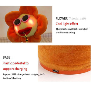 Sunflower Sax Style Bluetooth Plush Children Adult Toy ,Support USB Charging & Battery(Orange) - fommystore