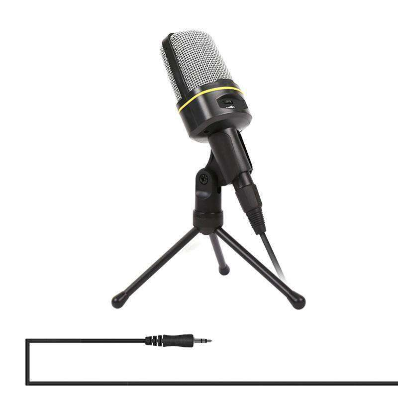 Professional Condenser Sound Recording Microphone with Tripod Holder, Cable Length: 2.0m, Compatible with PC and Mac for Live Broadcast Show, KTV, etc.(Black) - fommystore