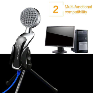 Professional Condenser Sound Recording Microphone with Tripod Holder, Cable Length: 2.0m, Compatible with PC and Mac for  Live Broadcast Show, KTV, etc. - fommystore