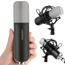 Load image into Gallery viewer, Professional Game Condenser Sound Recording Microphone with Holder, Compatible with PC and Mac for  Live Broadcast Show, KTV, etc.(Black) - fommystore