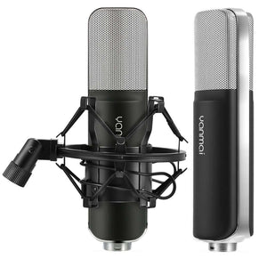 Professional Game Condenser Sound Recording Microphone with Holder, Compatible with PC and Mac for  Live Broadcast Show, KTV, etc.(Black)