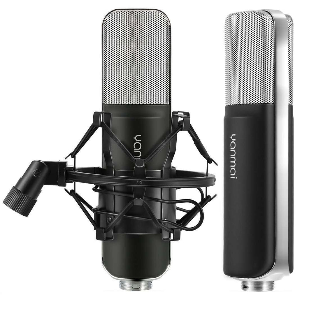 Professional Game Condenser Sound Recording Microphone with Holder, Compatible with PC and Mac for  Live Broadcast Show, KTV, etc.(Black) - fommystore