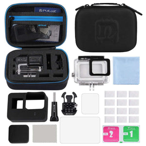AMZER 12 in 1 Surfing Accessories Combo Kits with Small EVA Case  - Diving Case + Silicone Case + Lens HD Screen Protector + LCD Dispaly Tempered Glass Film + Anti-Fog Inserts + Clean Cloth for GoProHERO6/5