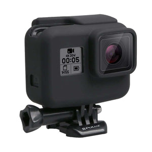 AMZER Shock-proof Silicone Protective Case with Lens Cover for GoProHERO - 2018 /7 Black /6 /5 with Frame
