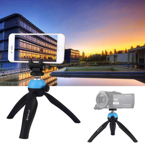 Pocket Mini Tripod Mount with 360 Degree Ball Head & Phone Clamp for Smartphones(Blue)