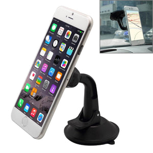 Universal Magnetic Car Dashboard Suction Mount for Smartphone - Black