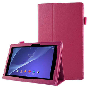 AMZER Texture Leather Case with Holder For Sony Xperia Tablet Z2 10.1 - Magenta - fommystore