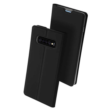 AMZER Flip Leather Wallet Case for Samsung Galaxy S10 Plus - Black - fommystore