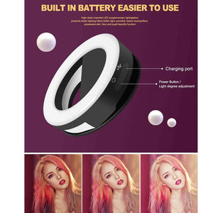 Anchor Beauty Artifact 3 Levels of Brightness Selfie Flash Light with 33 LED Lights, For iPhone, Galaxy, Huawei, Xiaomi, LG, HTC and Other Smart Phones(Black) - fommystore