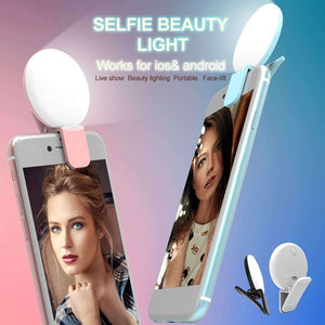 Mini and Portable Live Show Beauty Artifact 3 Levels of Brightness Warm and White Light Fill Light with 9 LED Light, For iPhone, Galaxy, Huawei, Xiaomi, LG, HTC and Other Smart Phones(Blue) - fommystore