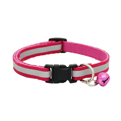 Adjustable Cute Pet Glossy Reflective Neck Strap/ Collar with Bell & Safety Buckle - Rose Red
