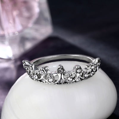 Vintage Silver Crystal Drill Hollow Crown Rings