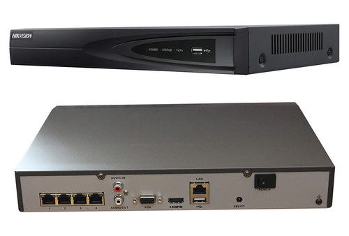 DS-7604K1/4P 4 Channel (4 Independent PoE) H.265 4K Network Video Recorder NVR, Embedded Plug & Play - DS-7604NI-K1/4P