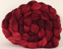 RESERVED for SpinCindy- Hand dyed top for spinning -Crimson- (5.25 oz. x2) Organic polwarth /Tussah silk (80/20) - Inglenook Fibers