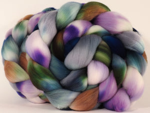 Hand dyed top for spinning -Oysters - (5.1 oz.) Organic Polwarth - Inglenook Fibers