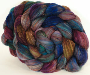 RESERVED for Sonoma33-Batt in a Braid #39-SARI- 8 -(5.1 oz.)Falkland Merino/ Mulberry Silk / Sari Silk (50/25/25) - Inglenook Fibers