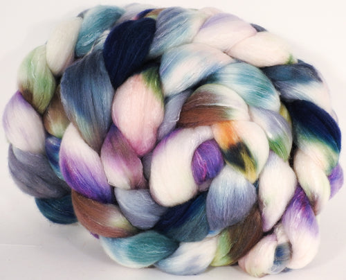 Hand dyed top for spinning -Oysters- (5.3 oz) Organic Polwarth / Tussah silk (80/20)