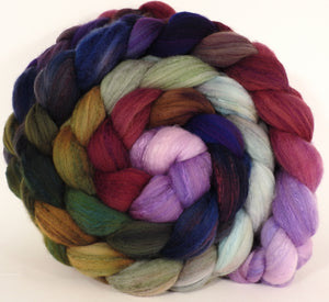 Hand dyed top for spinning - Cabbages and Kings - (5.3 oz) Organic Polwarth / Tussah silk (80/20) - Inglenook Fibers