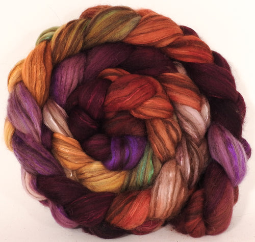 Hand dyed top for spinning -The Red Queen- (5.1 oz) 18.5 mic merino/ camel/ brown alpaca/ mulberry silk/ (40/20/20/20)