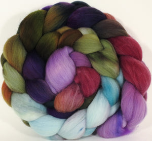 RESERVED for JerseyLightning - Hand dyed top for spinning - Cabbages & Kings - (5.4 oz.) Organic Polwarth - Inglenook Fibers