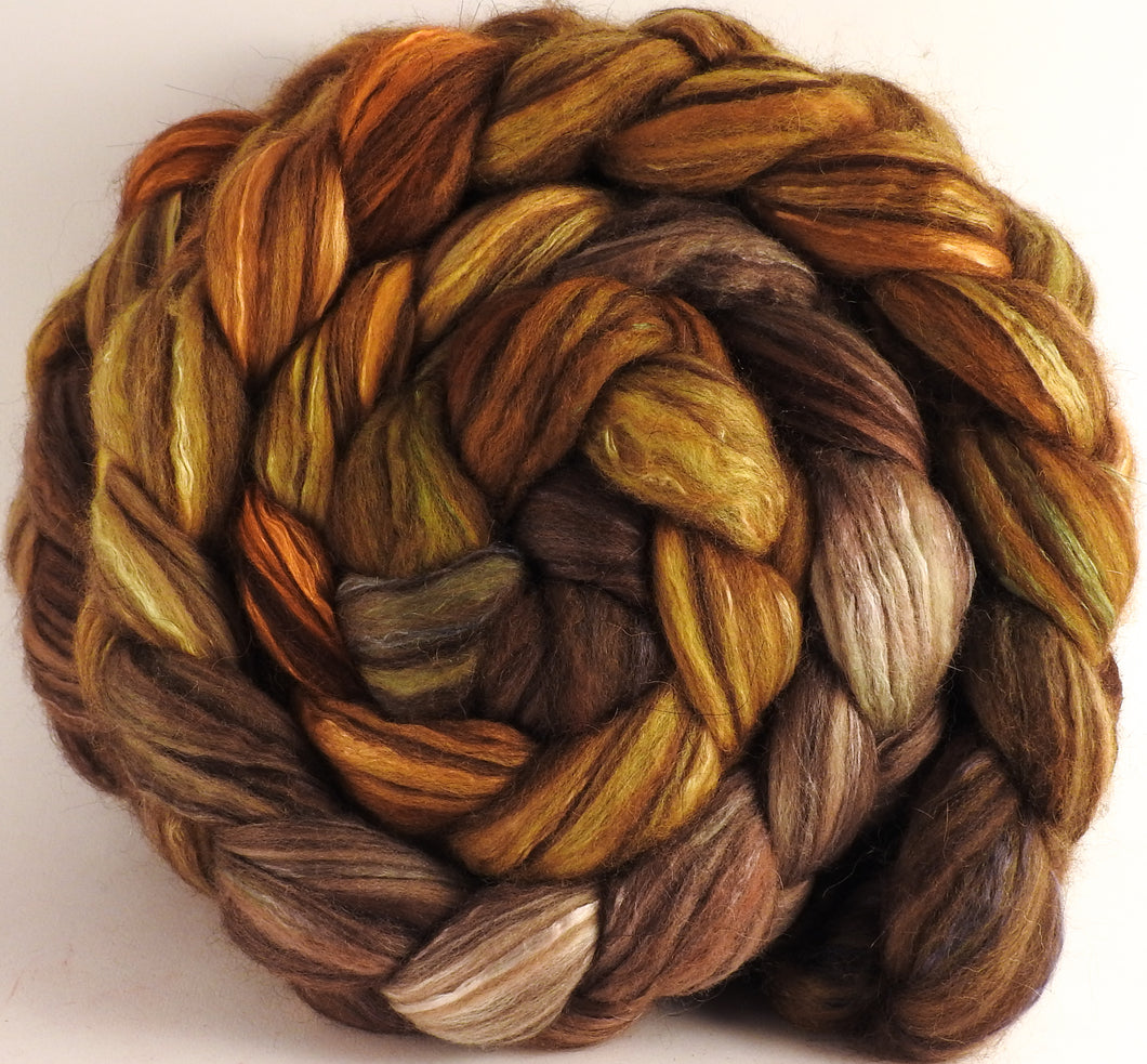 Hand dyed top for spinning - Tarnished- 18.5 mic merino/ camel/ brown alpaca/ mulberry silk/ (40/20/20/20) - Inglenook Fibers
