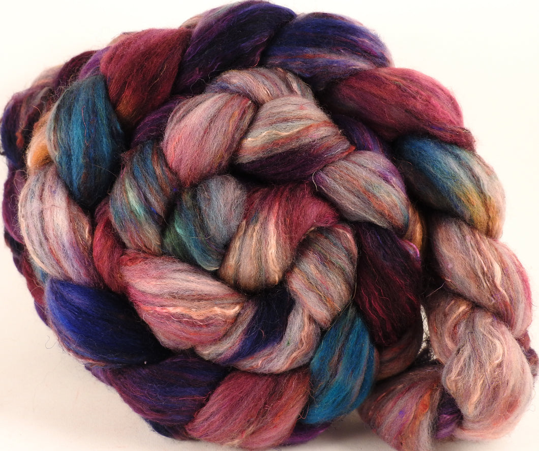 Batt in a Braid #39- Batik -(5.1 oz.) Falkland Merino/ Mulberry Silk / Sari Silk (50/25/25)