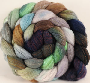 Hand dyed top for spinning - Downpour - (5.2 oz) Organic Polwarth / Tussah silk (80/20)