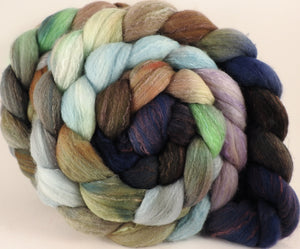 Hand dyed top for spinning - Downpour - (5.2 oz) Organic Polwarth / Tussah silk (80/20) - Inglenook Fibers