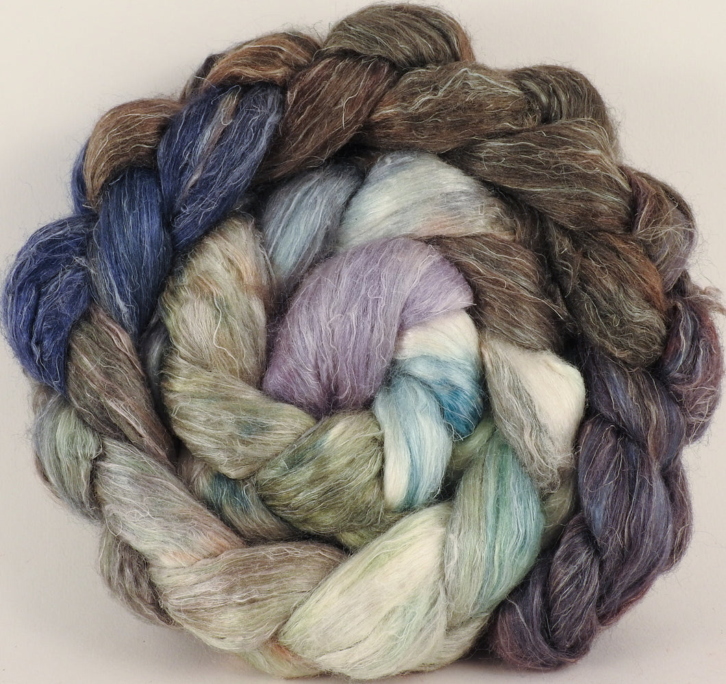 Hand dyed Tussah Silk / flax roving - Downpour - (65/35)- (5.5 oz.) - Inglenook Fibers